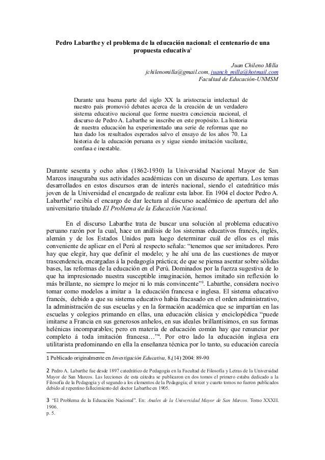 Pedro Labarthe y el problema de la educación nacional: el centenario de una  propuesta educativa1  Juan Chileno Milla  jch...