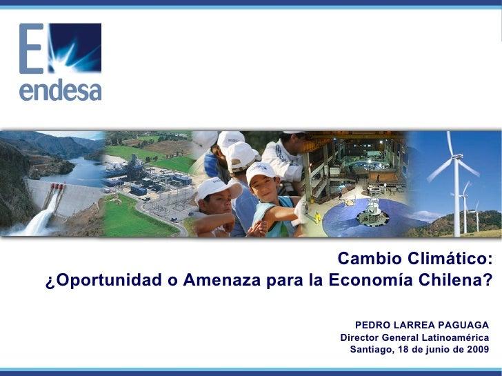 PEDRO LARREA PAGUAGA Director General Latinoamérica Santiago, 18 de junio de 2009 Cambio Climático: ¿Oportunidad o Amenaza...