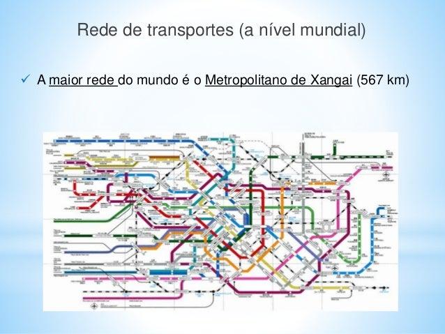 Rede de transportes (a nível mundial)  A maior rede do mundo é o Metropolitano de Xangai (567 km)