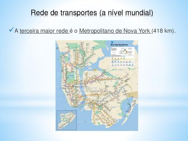A terceira maior rede é o Metropolitano de Nova York (418 km). Rede de transportes (a nível mundial)