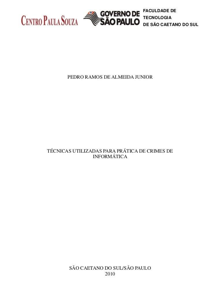 FACULDADE DE                                  TECNOLOGIA                                  DE SÃO CAETANO DO SUL       PEDR...