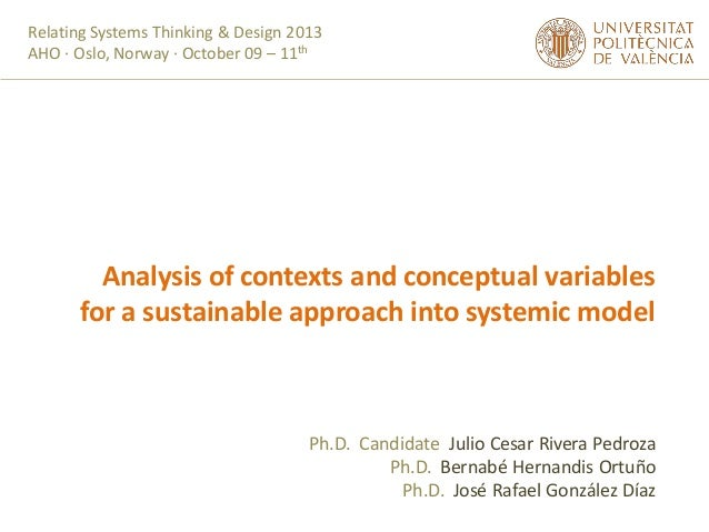 Relating Systems Thinking & Design 2013 AHO · Oslo, Norway · October 09 – 11th  Analysis of contexts and conceptual variab...