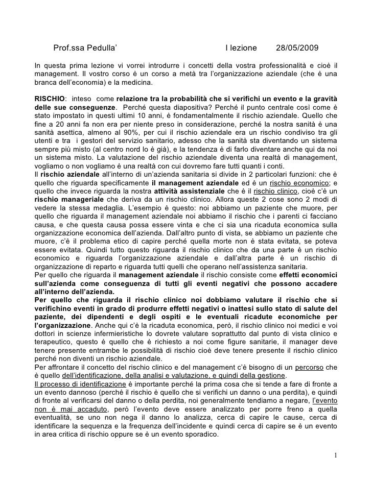 Prof.ssa Pedulla'                                       I lezione       28/05/2009  In questa prima lezione vi vorrei intr...