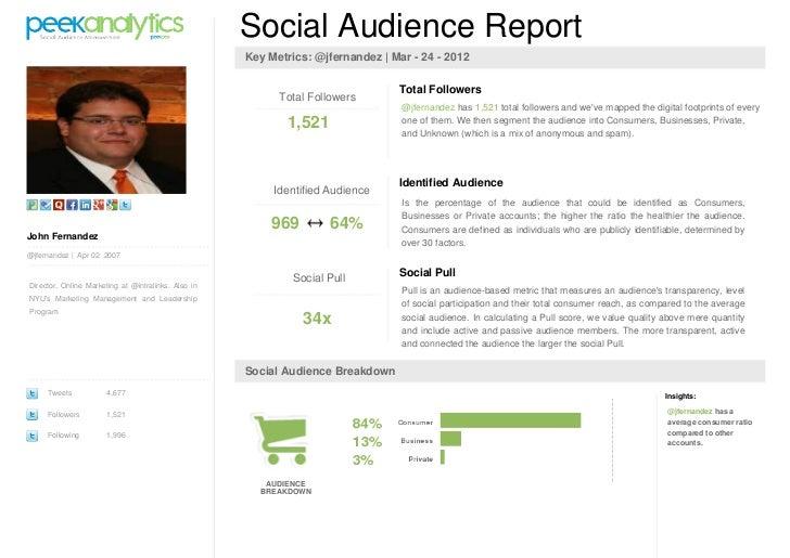 Social Audience Report                                                     Key Metrics: @jfernandez | Mar - 24 - 2012     ...