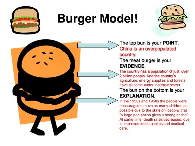 Burger Model!The top bun is your POINT.China is an ...