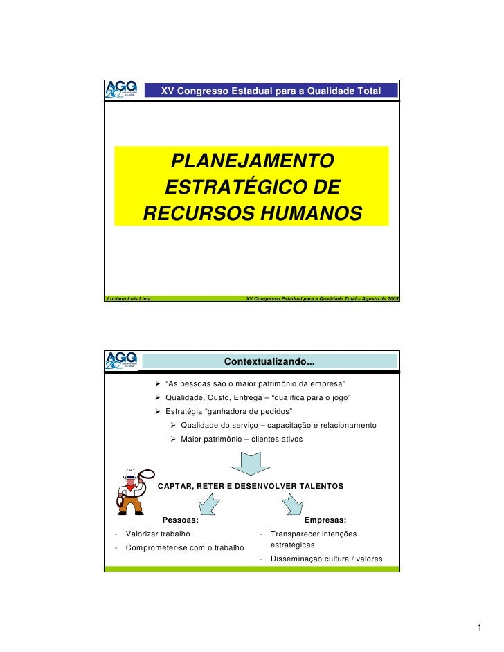 XV Congresso Estadual para a Qualidade Total                    PLANEJAMENTO                ESTRATÉGICO DE              RE...