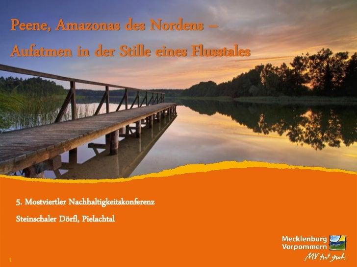 Peene, Amazonas des Nordens –Aufatmen in der Stille eines Flusstales  5. Mostviertler Nachhaltigkeitskonferenz  Steinschal...