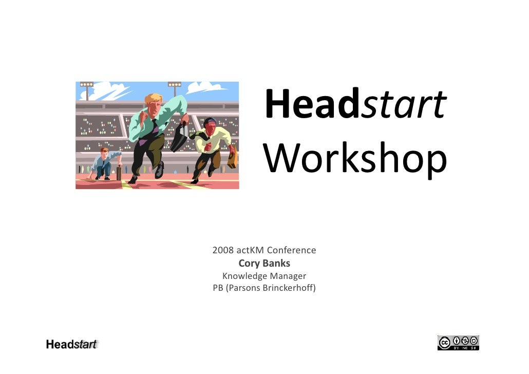 Headstart            Workshop            W kh 2008 actKM Conference       Cory Banks   Knowledge Manager PB (Parsons Brinc...