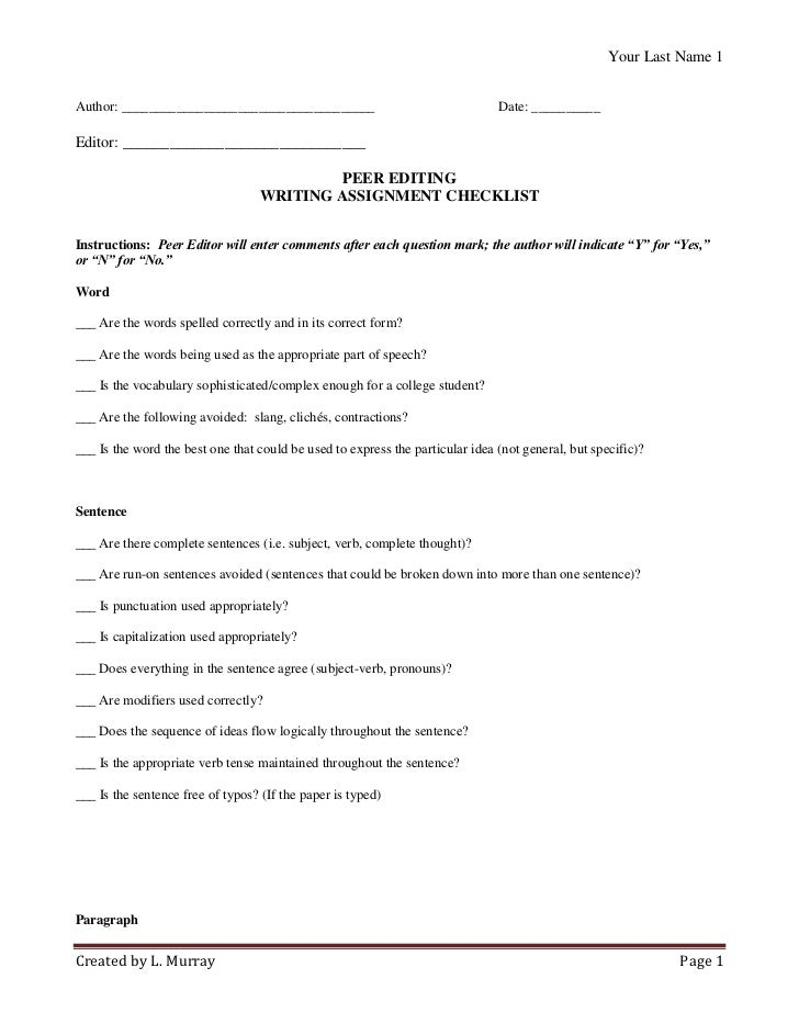 Essay Peer Review Checklist Research Paper Sample