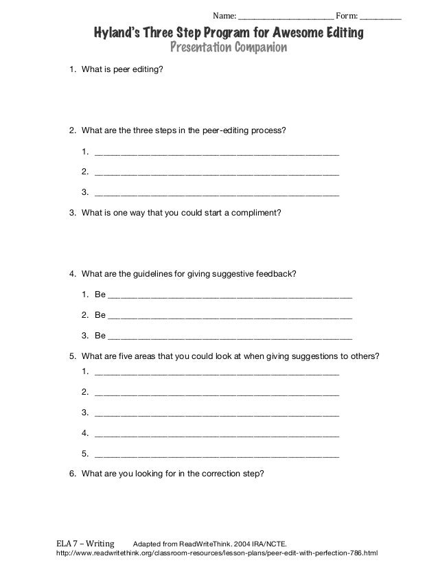 essay peer editing sheet