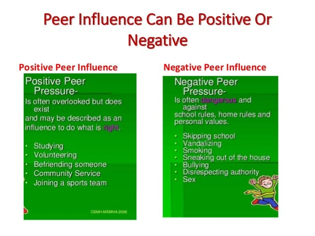 how does peer pressure affects behavior What is negative peer pressure what is positive peer pressure how do does it  affect the teenagers the thoughts, behavior and tastes of.