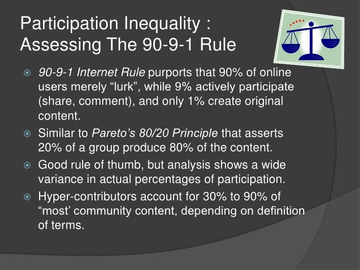 """Participation Inequality :Assessing The 90-9-1 Rule<br />90-9-1 Internet Rule purports that 90% of online users merely """"lu..."""
