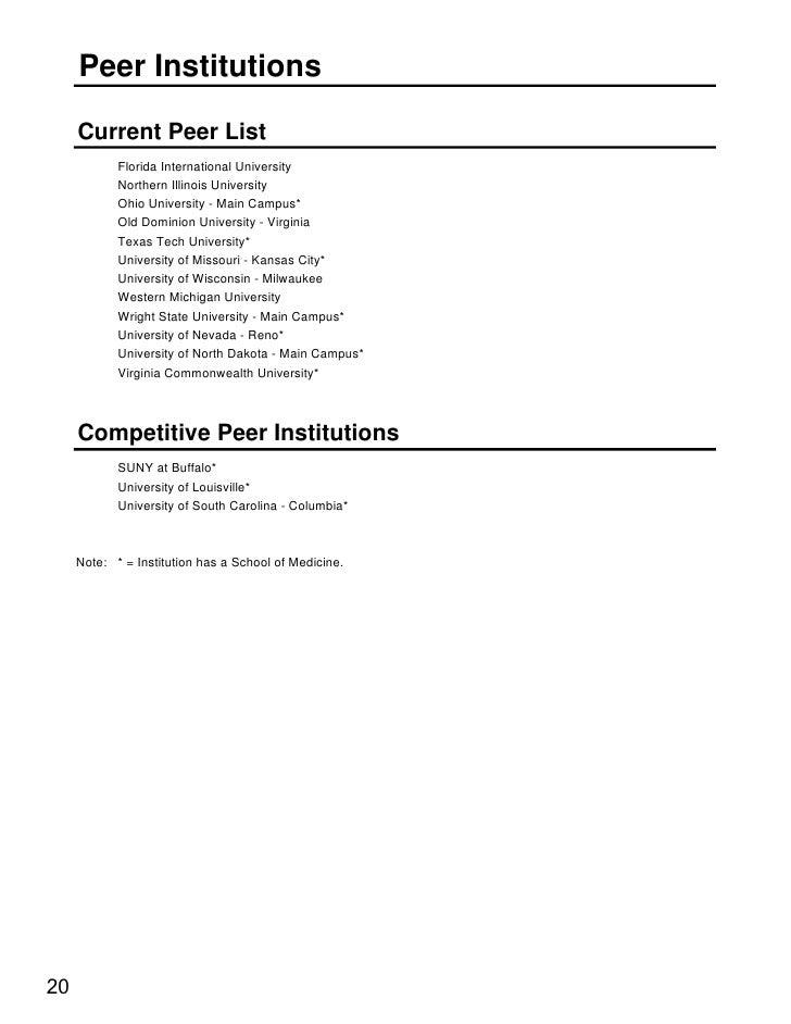 Peer Institutions       Current Peer List             Florida International University             Northern Illinois Unive...