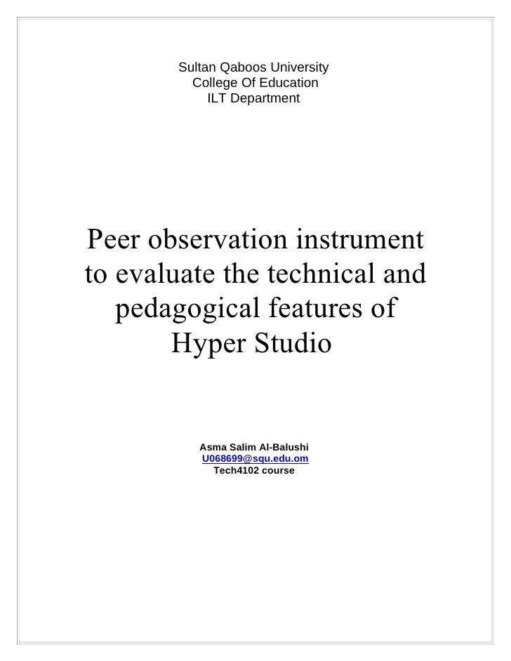Sultan Qaboos University          College Of Education             ILT Department     Peer observation instrument to evalu...