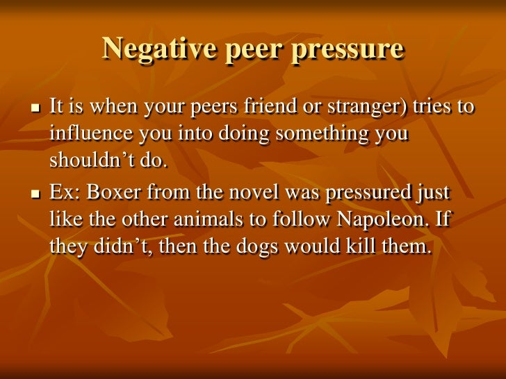 Peer pressure and animal farm