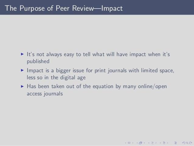 Purpose of peer review