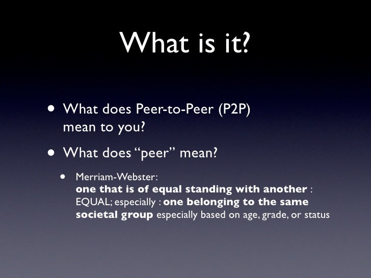 what does p2p mean