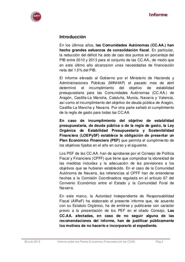 Informe de los Planes Económicos Financieros de las CCAA 2014 Slide 2