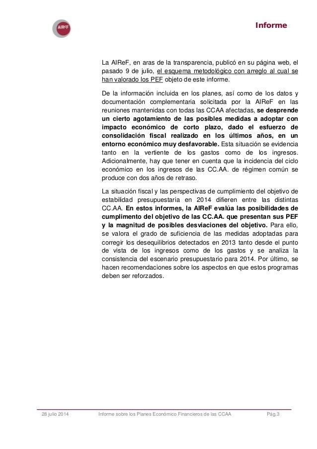 Informe de los Planes Económicos Financieros de las CCAA 2014 Slide 3