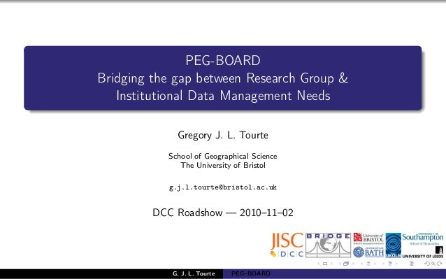 PEG-BOARD Bridging the gap between Research Group & Institutional Data Management Needs Gregory J. L. Tourte School of Geo...