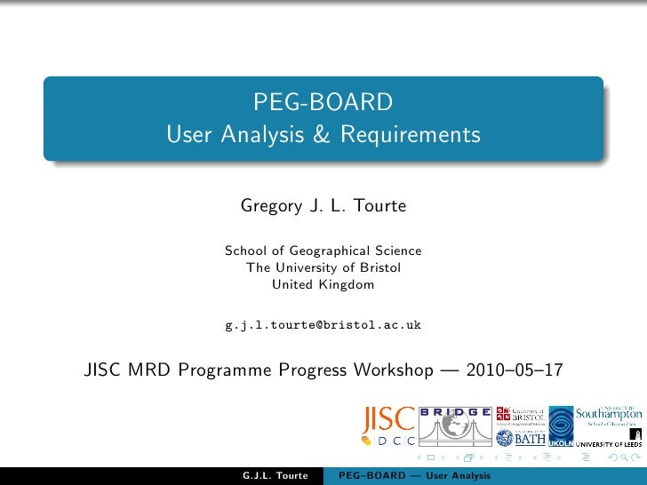 PEG-BOARD         User Analysis & Requirements                  Gregory J. L. Tourte                School of Geographical...
