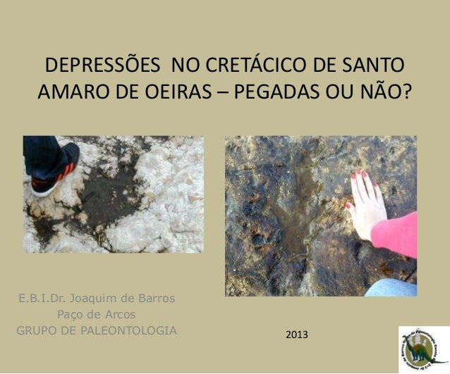 DEPRESSÕES NO CRETÁCICO DE SANTO AMARO DE OEIRAS – PEGADAS OU NÃO? E.B.I.Dr. Joaquim de Barros Paço de Arcos GRUPO DE PALE...