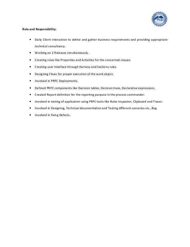Pega Architect Sample Resume Pega Sample Resume 8