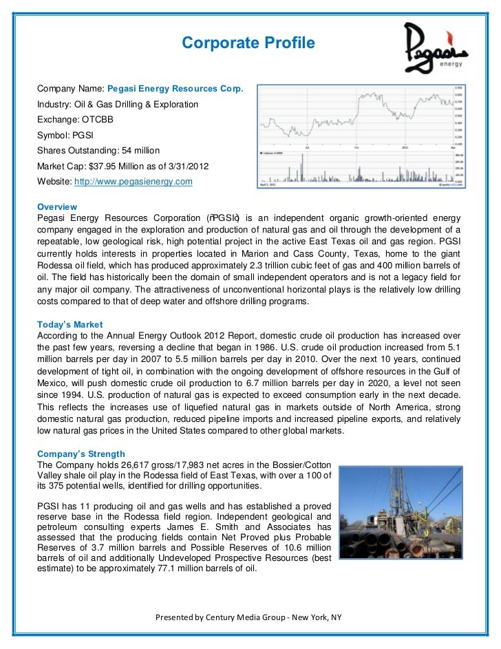 Corporate ProfileCompany Name: Pegasi Energy Resources Corp.Industry: Oil & Gas Drilling & ExplorationExchange: OTCBBSymbo...