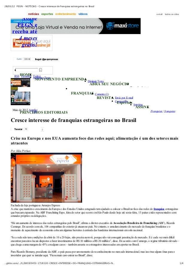 28/09/12 PEGN - NOTÍCIAS - Cresce interesse de franquias estrangeiras no Brasil                        notícias esportes e...