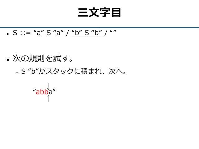 """三文字目  S ::= """"a"""" S """"a"""" / """"b"""" S """"b"""" / """"""""  次の規則を試す。  S """"b""""がスタックに積まれ、次へ。 """"abba"""""""