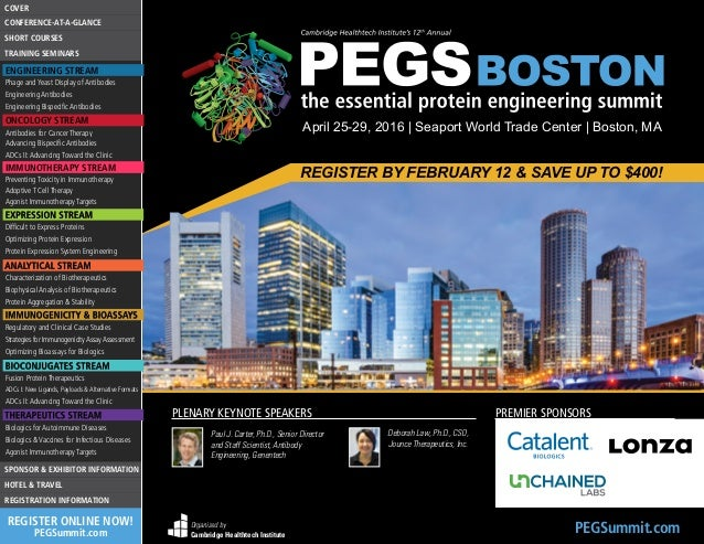 Pegs Boston The Essential Protein Engineering Summit 638 Cb April Seaport World Trade Center