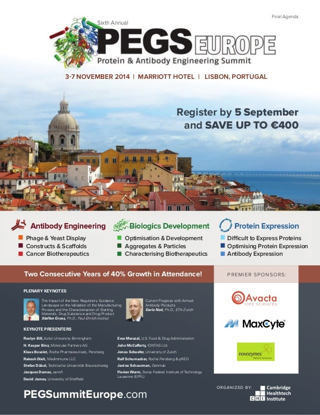PEGSummitEurope.com 1 PREMIER SPONSORS: ORGANIZED BY: PEGSummitEurope.com Register by 5 September and SAVE UP TO €400 3-7 ...