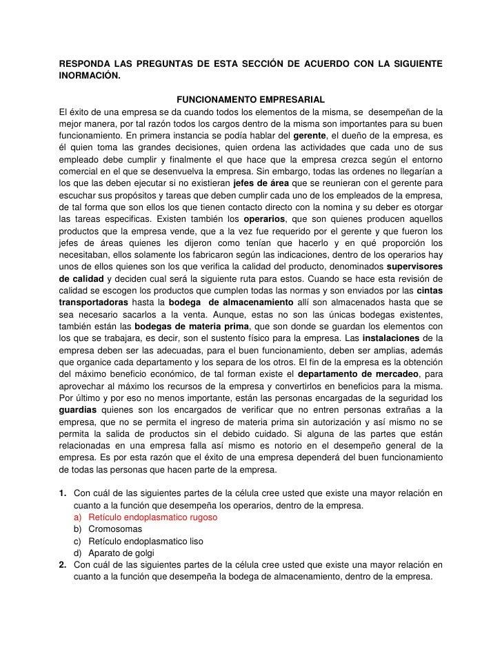 RESPONDA LAS PREGUNTAS DE ESTA SECCIÓN DE ACUERDO CON LA SIGUIENTEINORMACIÓN.                              FUNCIONAMENTO E...