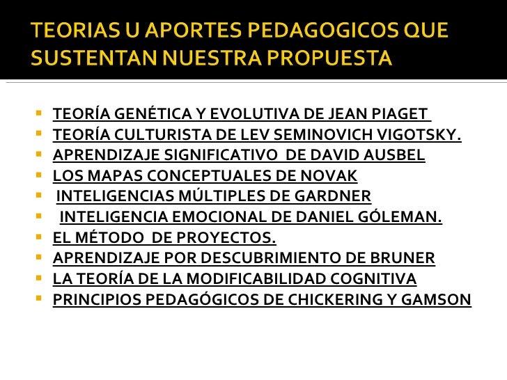 <ul><li>TEORÍA GENÉTICA Y EVOLUTIVA DE JEAN PIAGET  </li></ul><ul><li>TEORÍA CULTURISTA DE LEV SEMINOVICH VIGOTSKY. </li><...