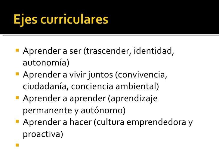 <ul><li>Aprender a ser (trascender, identidad, autonomía) </li></ul><ul><li>Aprender a vivir juntos (convivencia, ciudadan...