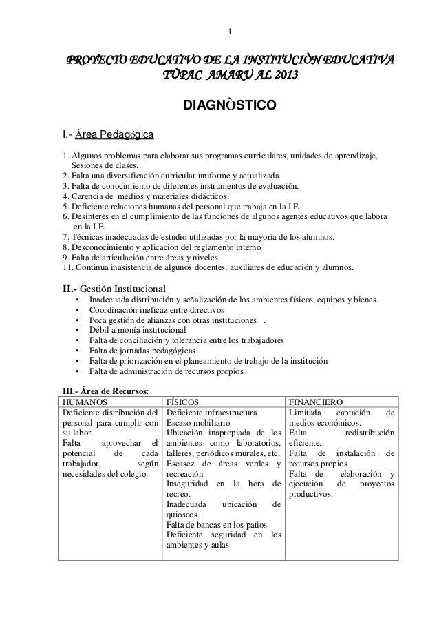 1PROYECTO EDUCATIVO DE LA INSTITUCIÒN EDUCATIVA             TÙPAC AMARU AL 2013                                  DIAGNÒSTI...