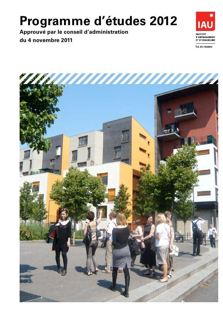 Programme d'études 2012Approuvé par le conseil d'administrationdu 4 novembre 2011