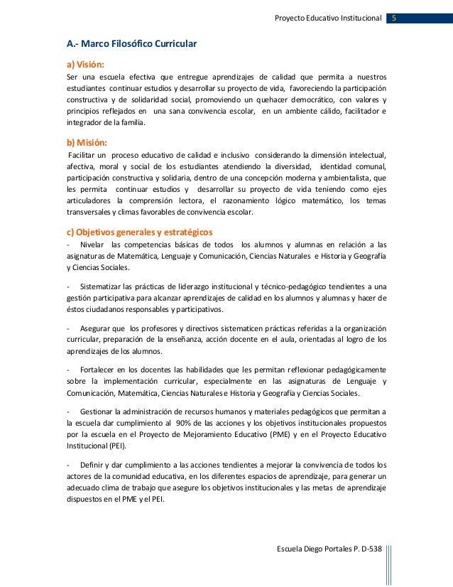 Proyecto educativo institucional diego portales 2015 2017 for Proyecto para una cantina escolar