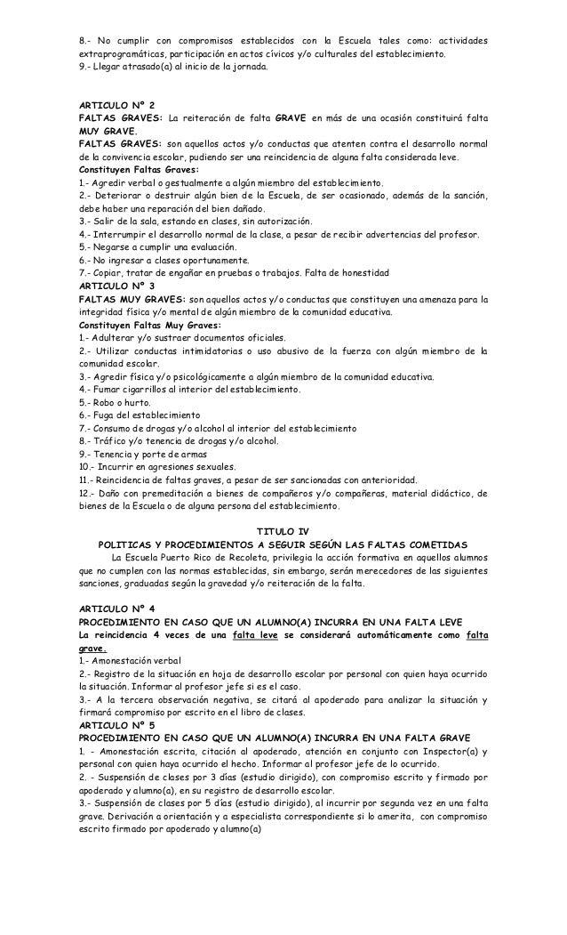 8.- No cumplir con compromisos establecidos con la Escuela tales como: actividades extraprogramáticas, participación en ac...
