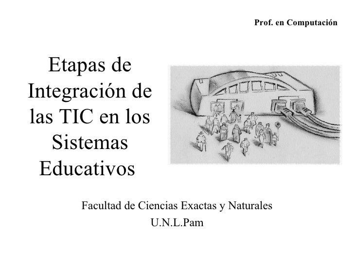 Etapas de Integración de las TIC en los Sistemas Educativos   Facultad de Ciencias Exactas y Naturales U.N.L.Pam Prof. en ...