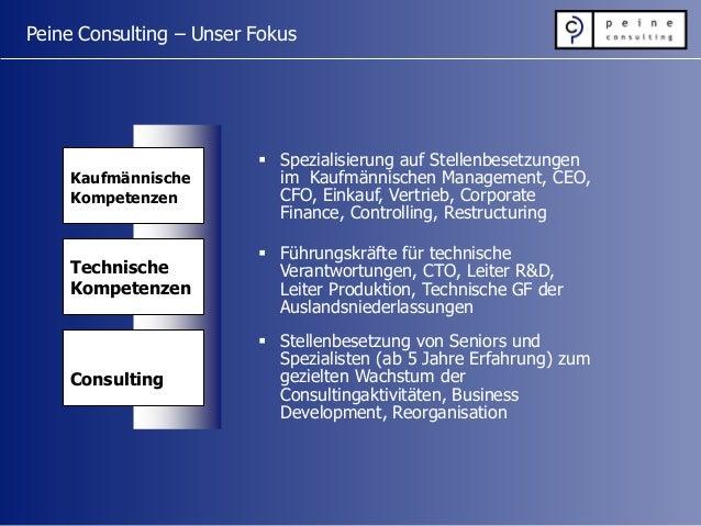 Peine Consulting – Unser Fokus Kaufmännische Kompetenzen Technische Kompetenzen Consulting  Spezialisierung auf Stellenbe...