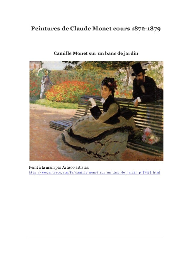 Peintures de Claude Monet cours 1872-1879  Camille Monet sur un banc de jardin  Peint à main par Artisoo artistes: la http...