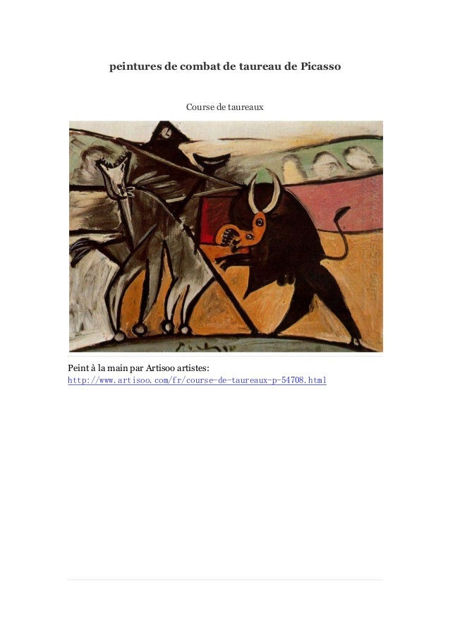 peintures de combat de taureau de Picasso  Course de taureaux  Peint à main par Artisoo artistes: la http://www.artisoo.co...