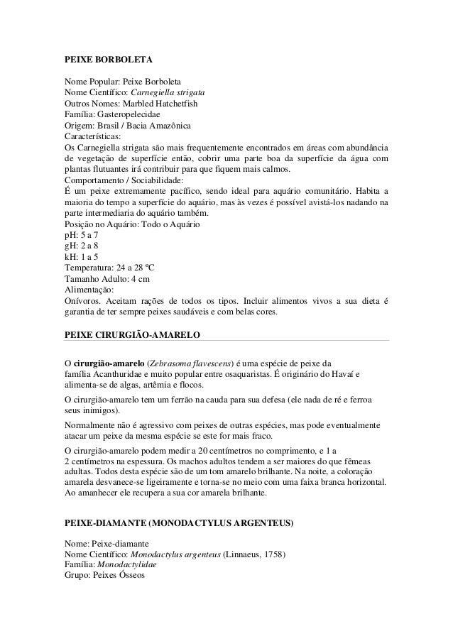 PEIXE BORBOLETA  Nome Popular: Peixe Borboleta  Nome Científico: Carnegiella strigata  Outros Nomes: Marbled Hatchetfish  ...