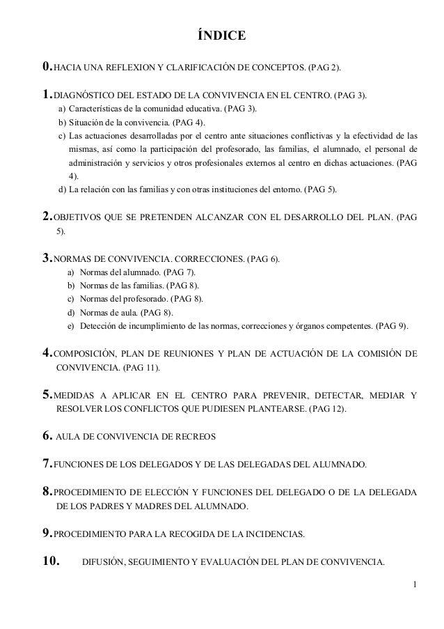 ÍNDICE0. HACIA UNA REFLEXION Y CLARIFICACIÓN DE CONCEPTOS. (PAG 2).1. DIAGNÓSTICO DEL ESTADO DE LA CONVIVENCIA EN EL CENTR...