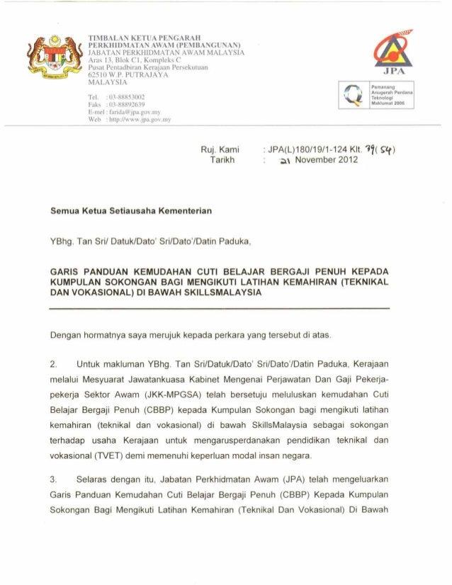 Perakuan Contoh Surat Sokongan Ketua Jabatan