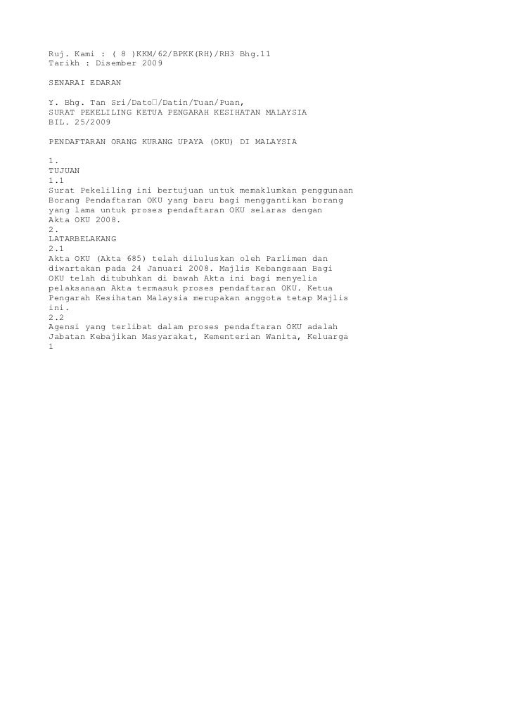 Ruj. Kami : ( 8 )KKM/62/BPKK(RH)/RH3 Bhg.11Tarikh : Disember 2009SENARAI EDARANY. Bhg. Tan Sri/Dato'/Datin/Tuan/Puan,SURAT...