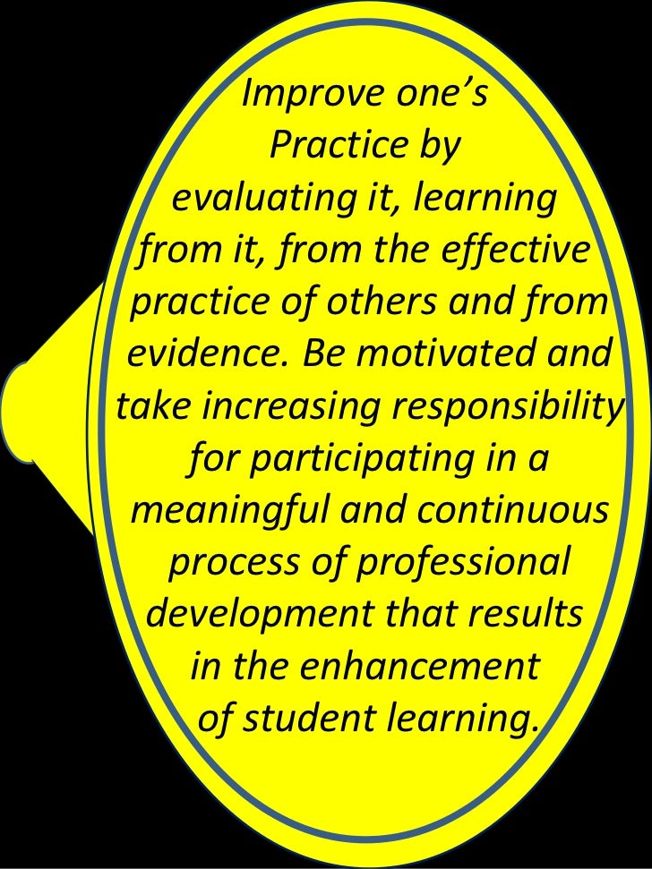 Improve one's           Practice by    evaluating it, learning  from it, from the effective practice of others and from ev...