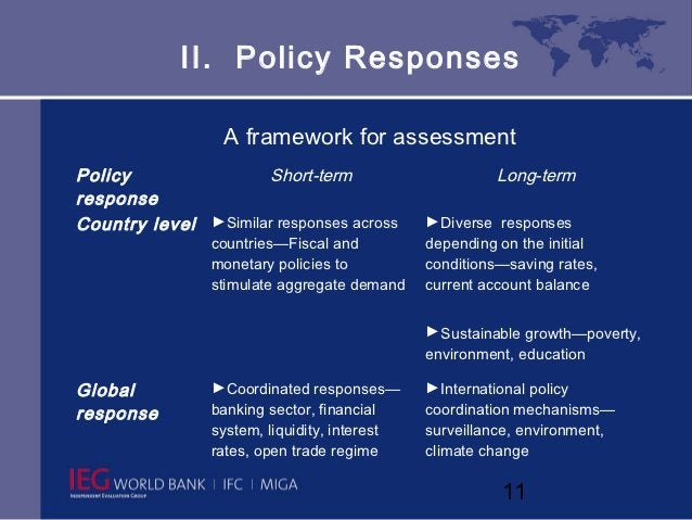 II. Policy Responses                 A framework for assessmentPolicy               Short-term                        Long...