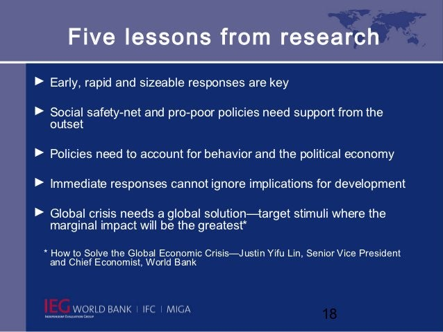 Five lessons from research► Early, rapid and sizeable responses are key► Social safety-net and pro-poor policies need supp...
